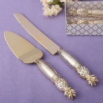 Two Piece Gold Pineapple Themed Cake Knife & Server